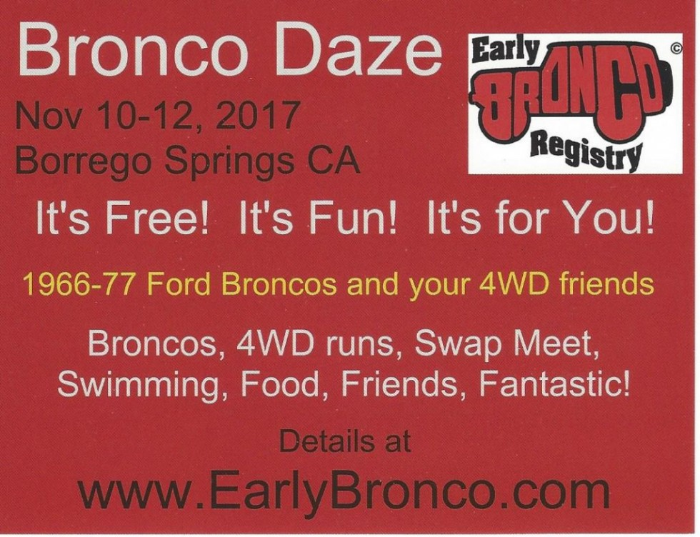 Yes, we ARE holding Bronco Daze 2017 in November!